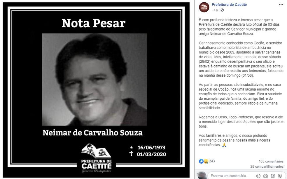 Motorista de ambulância morre após acidente na Bahia — Foto: Reprodução/Facebook