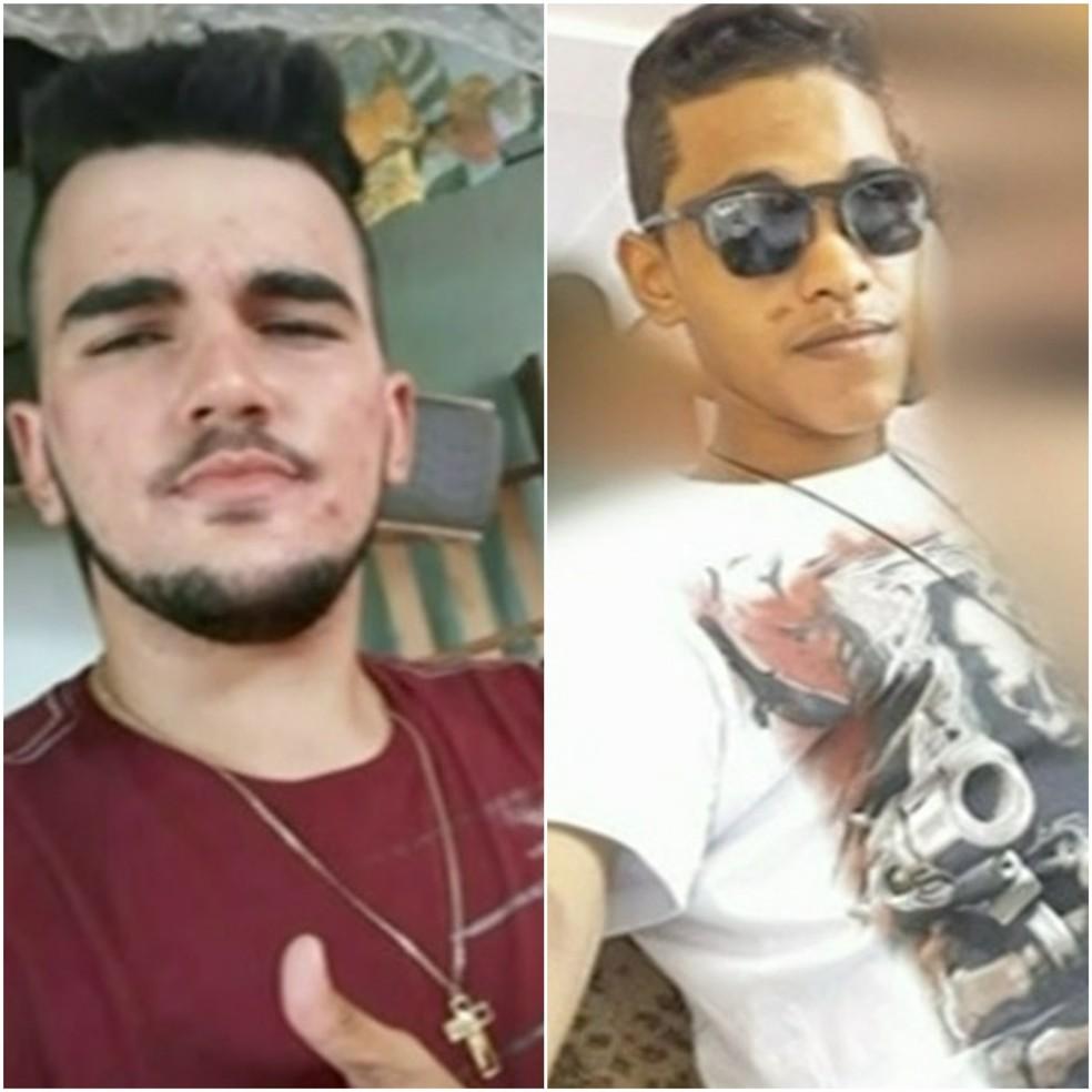 Jovens foram baleados e morreram no local do crime — Foto: Reprodução/TV Anhanguera