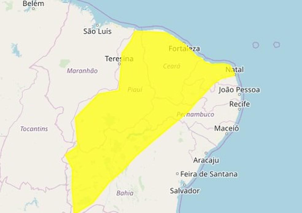 Inmet emite alerta de perigo potencial de chuvas para 78 municípios paraibanos — Foto: Reprodução/Alert-AS