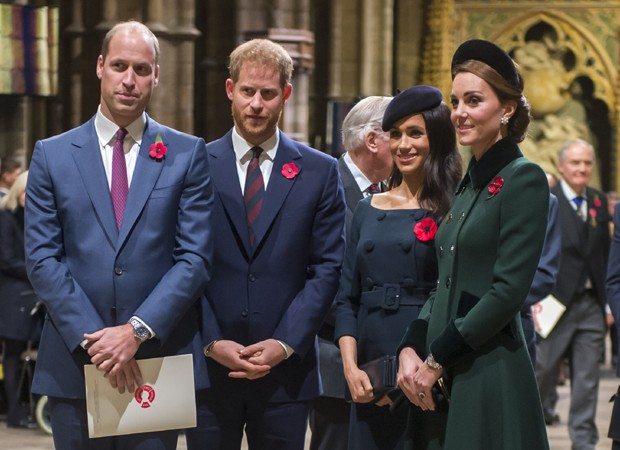 O príncipe William, o príncipe Harry, Meghan Markle e Kate Middleton (Foto: Getty Images)