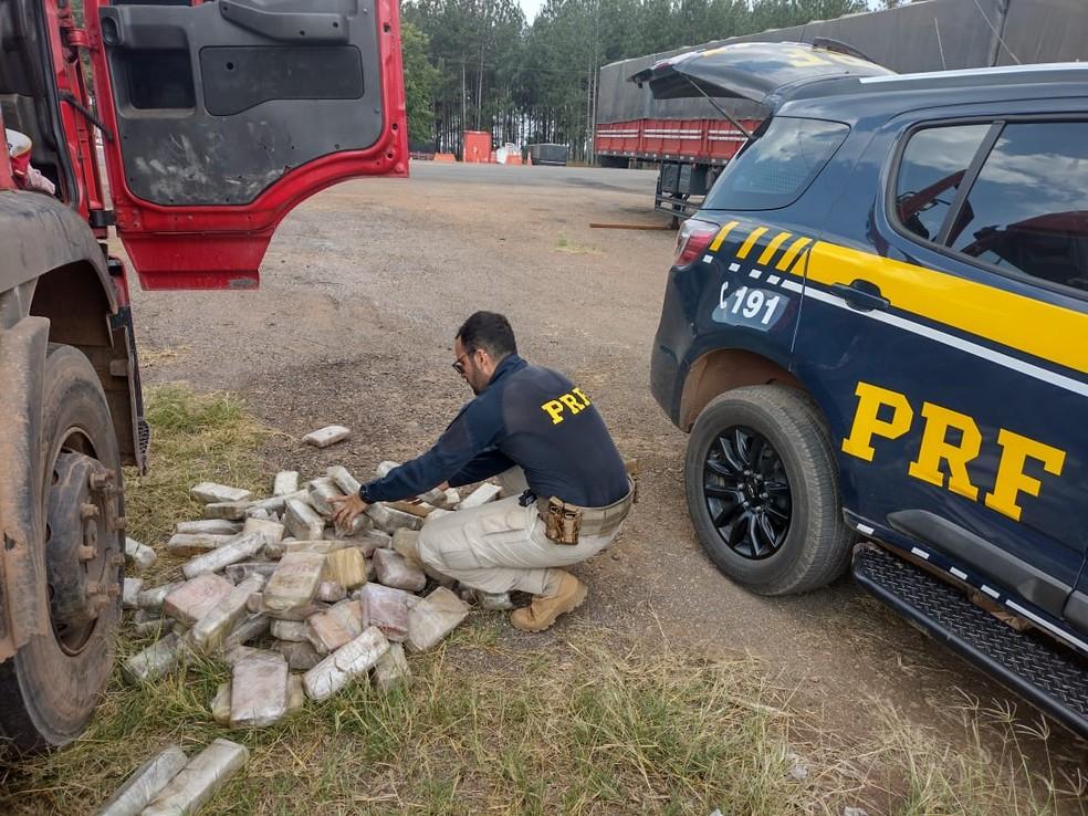 Em Vilhena (RO), PRF apreende quase 300 kg de maconha — Foto: PRF/Divulgação