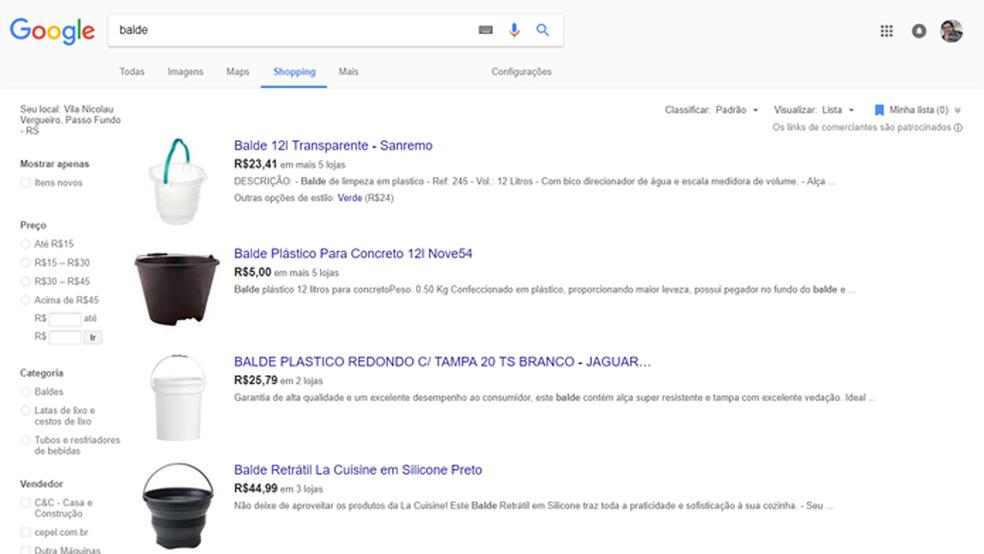 Gigante ajuda a encontrar itens a venda (Foto: Reprodução/Google)