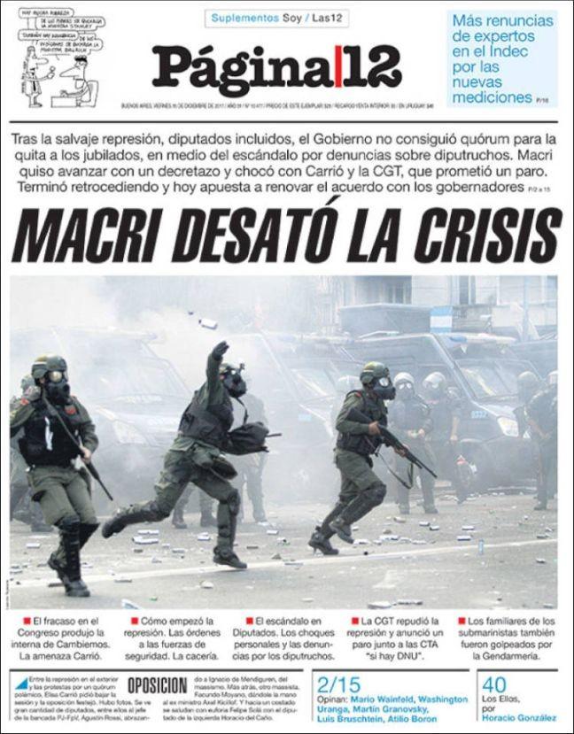 Pode ir com a legenda: Para o jornal de oposição Pagina 12, Macri abriu a caixa de Pandora (Foto: Pagina 12)