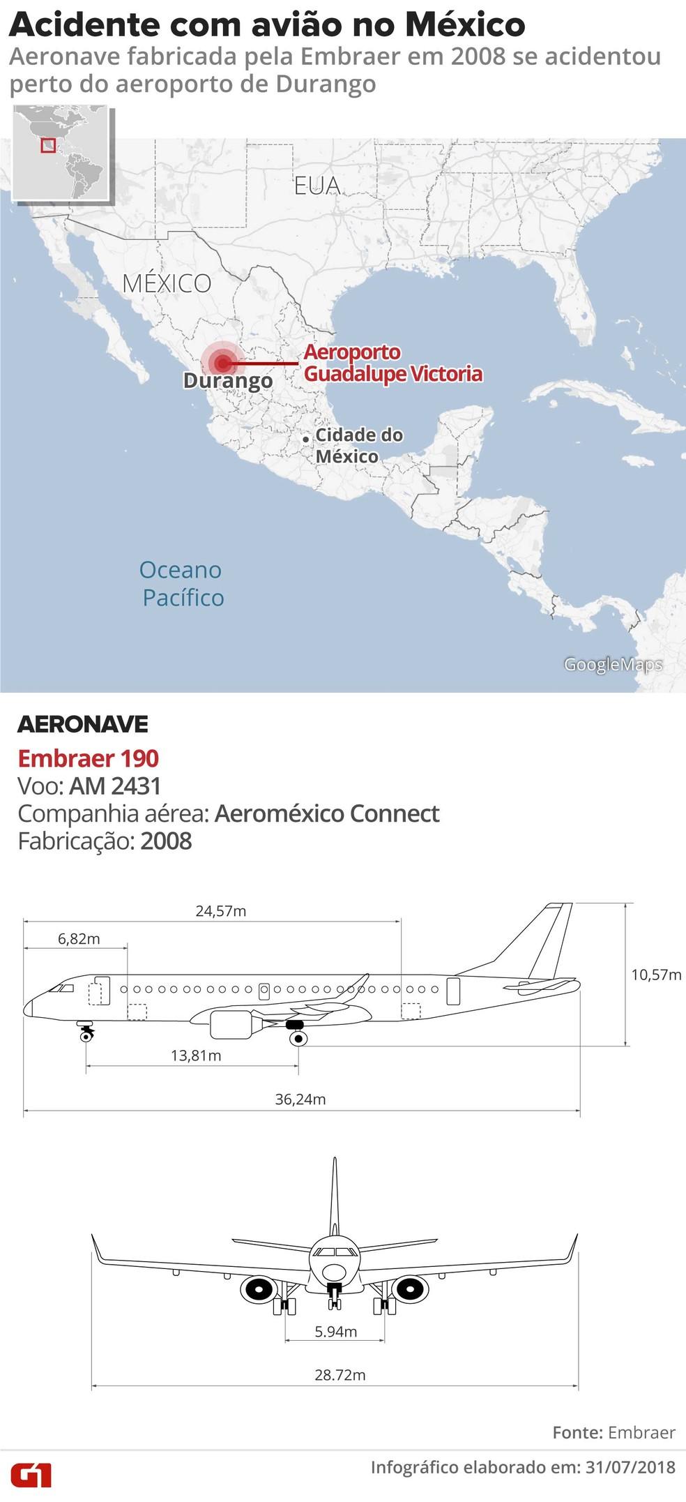 Acidente com avião da Aeroméxico  (Foto: Fernanda Garrafiel/G1)