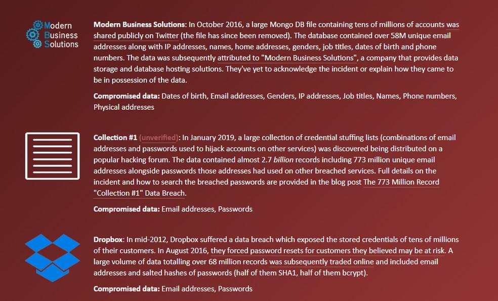 Exemplo de e-mail que está entre os 773 milhões vazados, mas não entre os 140 milhões de novos e-mails. A conta em questão já havia sido comprometida anteriormente, como no vazamento de dados do Dropbox, de 2012. — Foto: Reprodução/G1