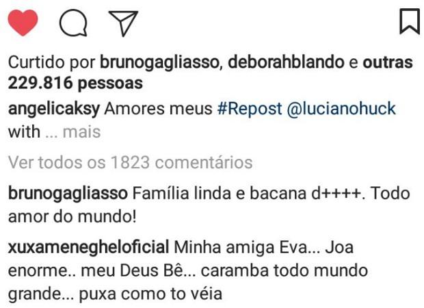 Xuxa faz comentário em post de Angélica (Foto: Reprodução/Instagram)