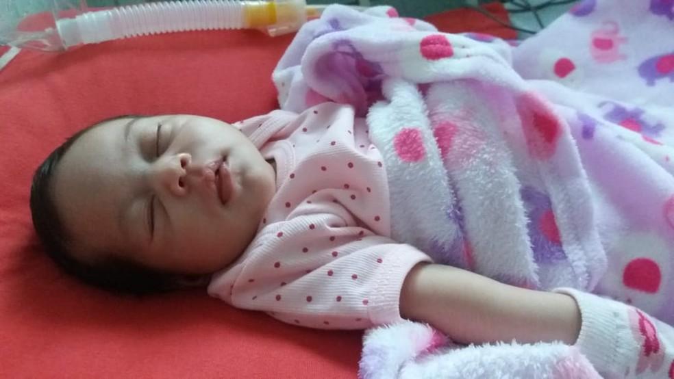 Maria Helena nasceu no final de maio deste ano e pais entraram na Justiça para conseguir vaga em UTI (Foto: Arquivo Pessoal)