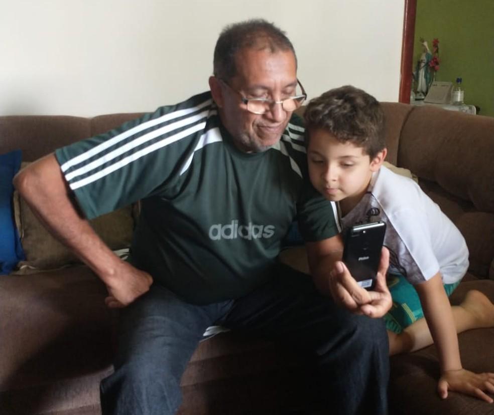 Chamada de vídeo com os familiares foi um presente inesquecível de Dia dos Pais — Foto: Arquivo pessoal