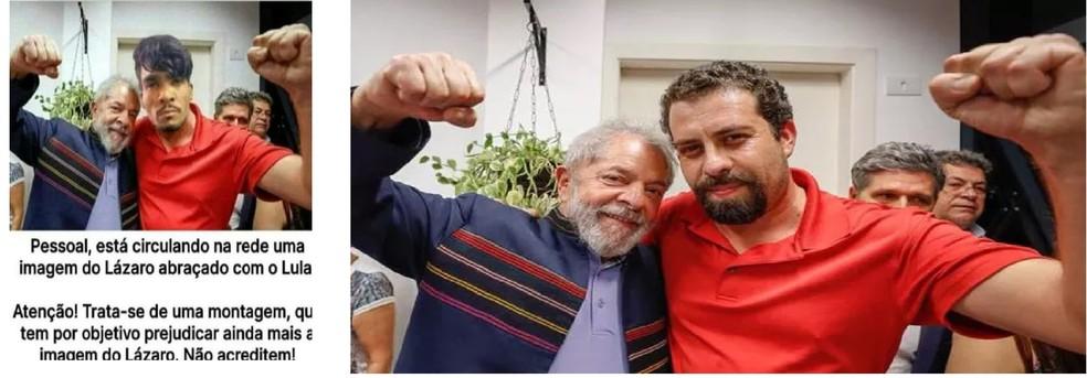 É #FAKE que imagens mostrem Lula ao lado de Lázaro — Foto: Reprodução