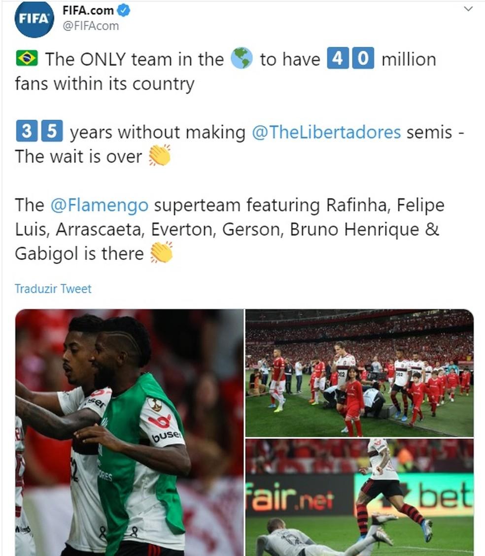 Post da Fifa destaca o feito do Rubro-Negro — Foto: Fifa.com