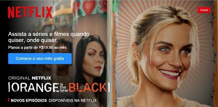 Tela inicial do site do Netflix