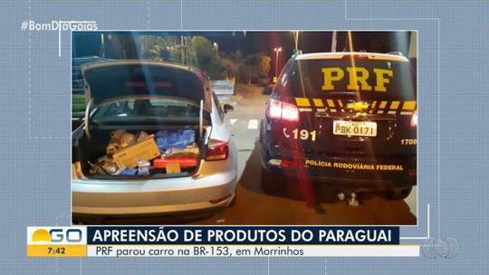 PRF em Goiás apreende carro com mercadorias contrabandeadas do Paraguai