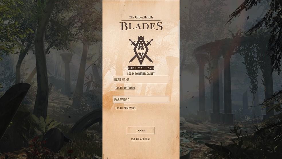 Crie sua conta para jogar o The Elder Scrolls: Blades — Foto: Reprodução/Murilo Molina