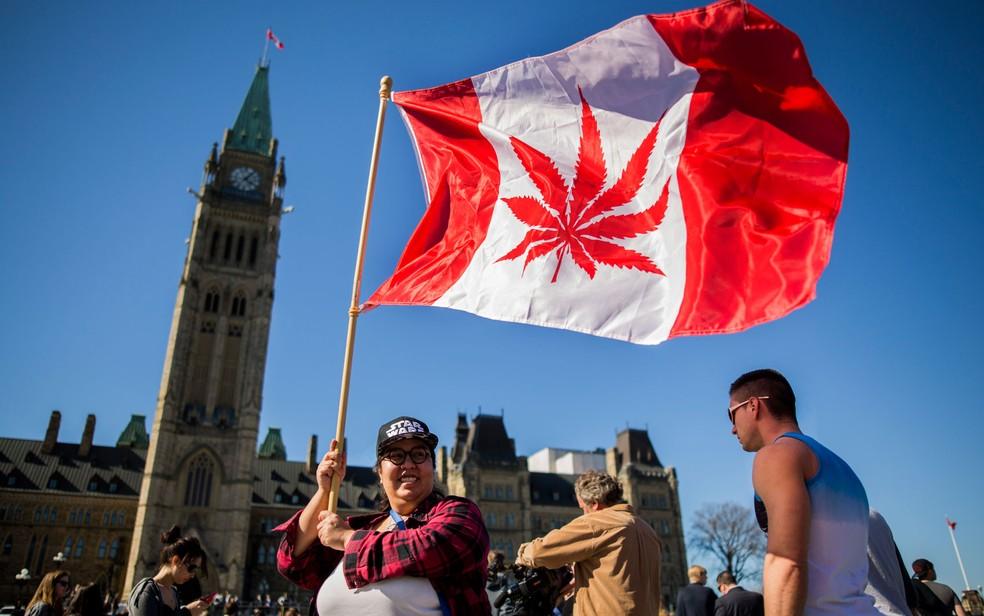 -  Em foto de 20 de abril de 2016, mulher agita bandeira com folha de maconha, inspirada na bandeira do Canadá, durante celebração do Dia Nacional da Ma