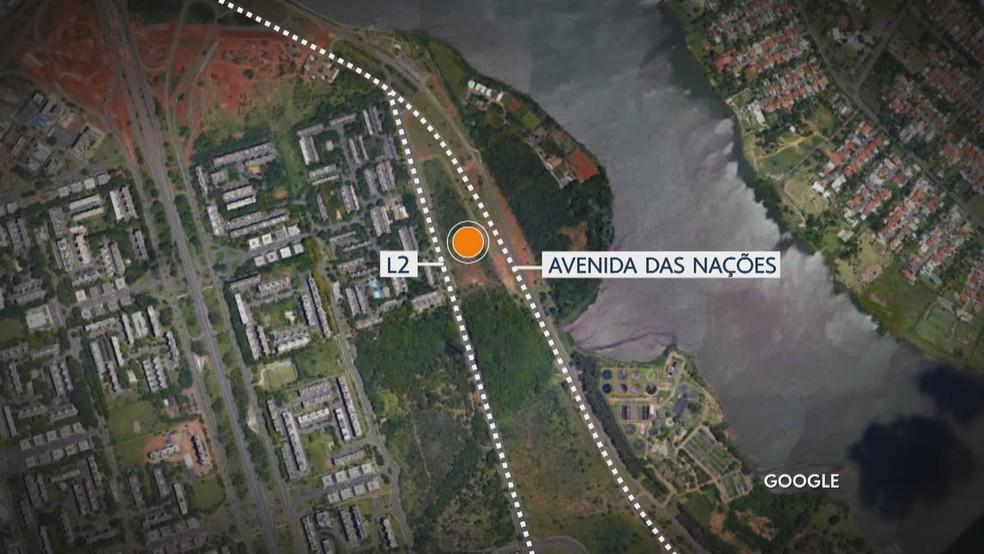 Área que mulher foi encontrada fica perto L2 Norte, em frente à estação biológica da UNB. — Foto: TV Globo/Reprodução