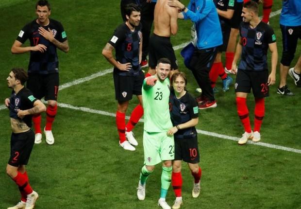 Os jogadores croatas celebram a vitória contra a Inglaterra na semi-final (Foto: Reuters via BBC)