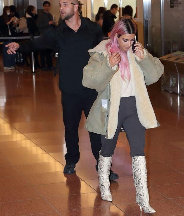 Kanye West e Kim Kardashian (Foto: The Grosby Group)