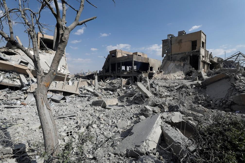 Centro de pesquisa científica na Síria, destruído após ataque coordenado de EUA, França e Reino Unido, em 13 de abril de 2018 (Foto: Omar Sanadiki/Reuters)