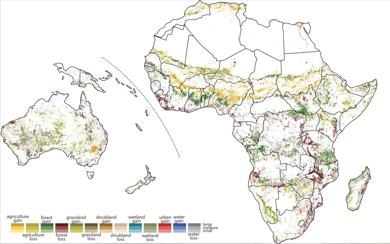Mudanças ocorridas na Oceania e África (Foto: Universidade de Cincinnati)