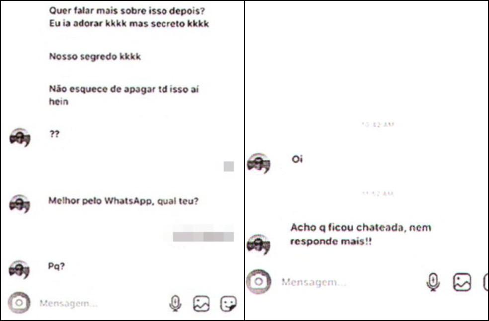 Em outras mensagens, suspeito falou para garota apagar conversa e insistiu para que ela o respondesse — Foto: Reprodução