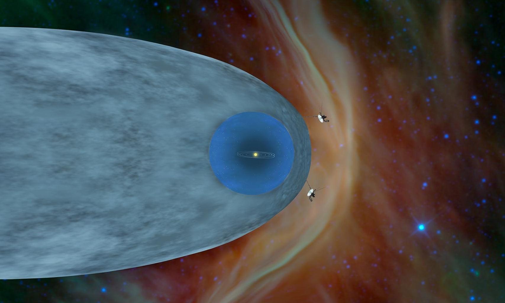 Ilustração representa a localização das sondas Voyager 1 e Voyager 2 na héliosfera (Foto: NASA)