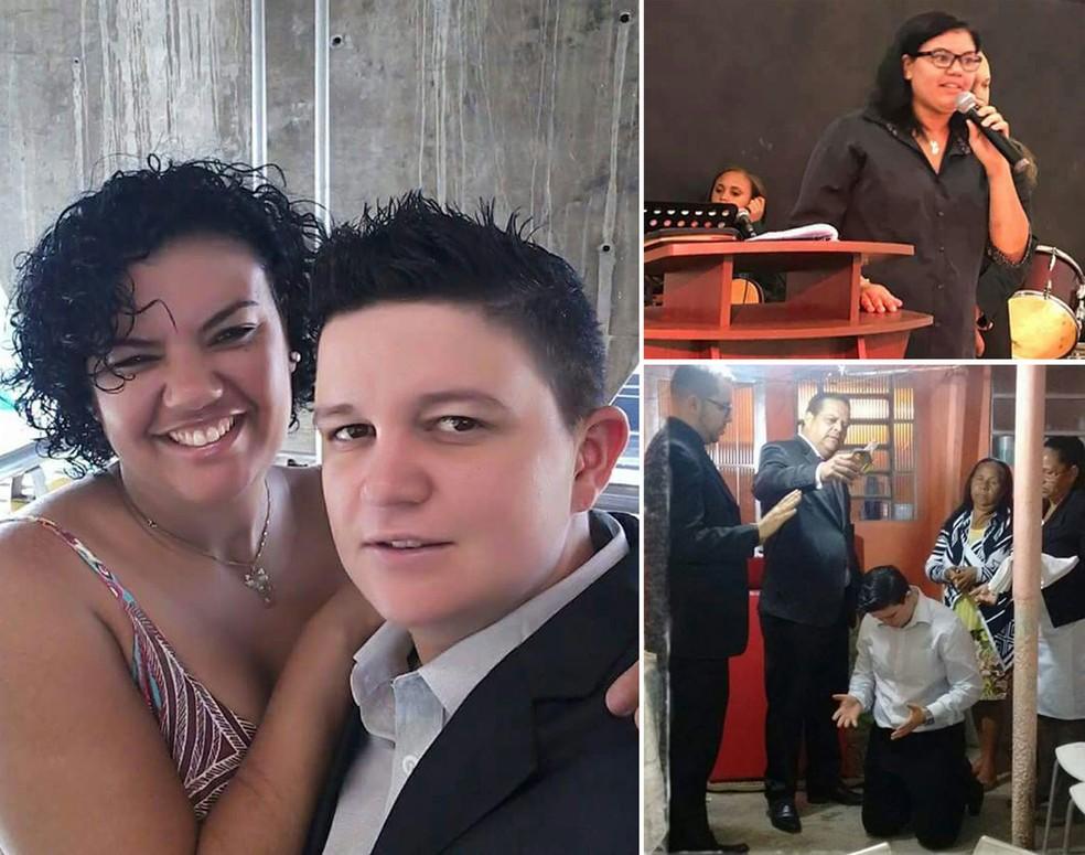 O casal transafetivo Henrique Júnior Alves e Ive Lucy Bergamo. À direita, Ive durante pregação, e Henrique no dia em que foi ungido missionário (Foto: Arquivo pessoal)