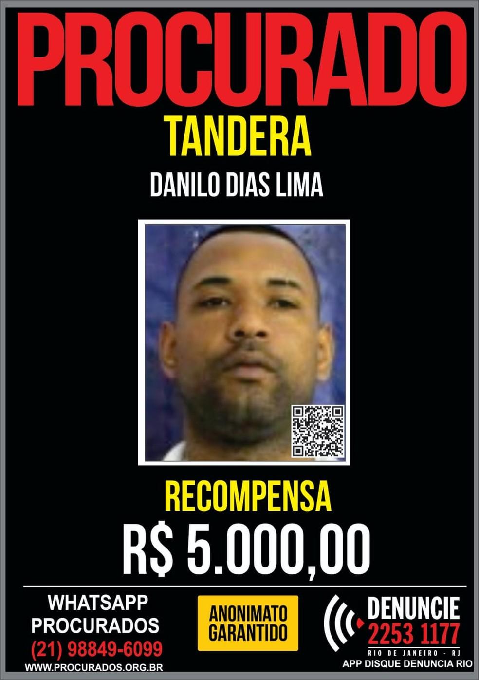 Recompensa por informações que possam levar à prisão de Tandera aumentou de R$ 1 mil para R$ 5 mil — Foto: Portal dos Procurados/Divulgação