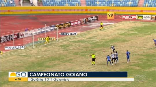 Goianésia sai na frente, mas Goiânia arranca empate com gol de pênalti