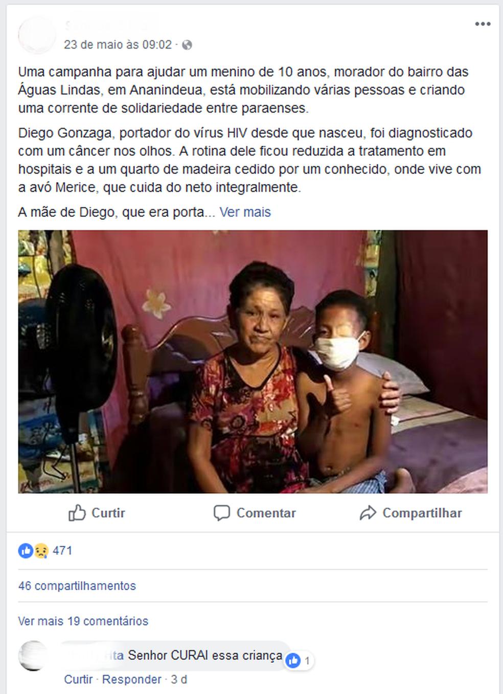 Fraude: família de garoto teria criado uma campanha falsa para arrecadar doações (Foto: Reprodução/Facebook)