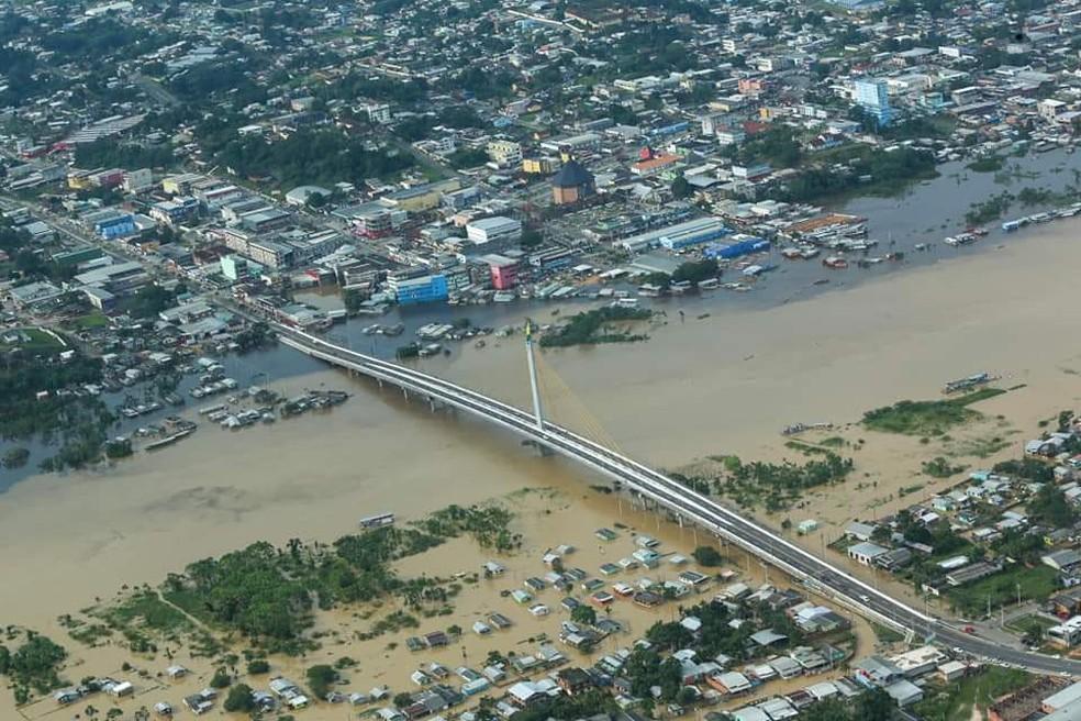 Cruzeiro do Sul tem 30.048 pessoas atingidas pelas águas do Rio Juruá e seus afluentes — Foto: Marcos Vicentti/Secom