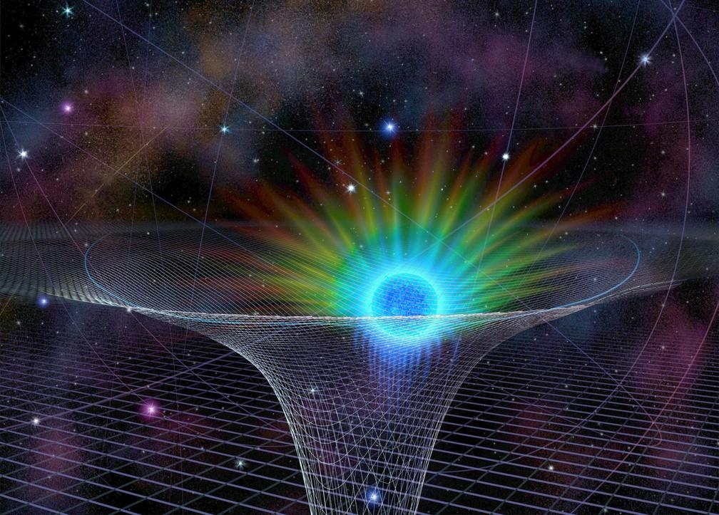 Modelo visual da estrela S0-2, a mais próxima de um gigantesco buraco negro no centro da Via Láctea — Foto: Divulgação/National Science Foundation