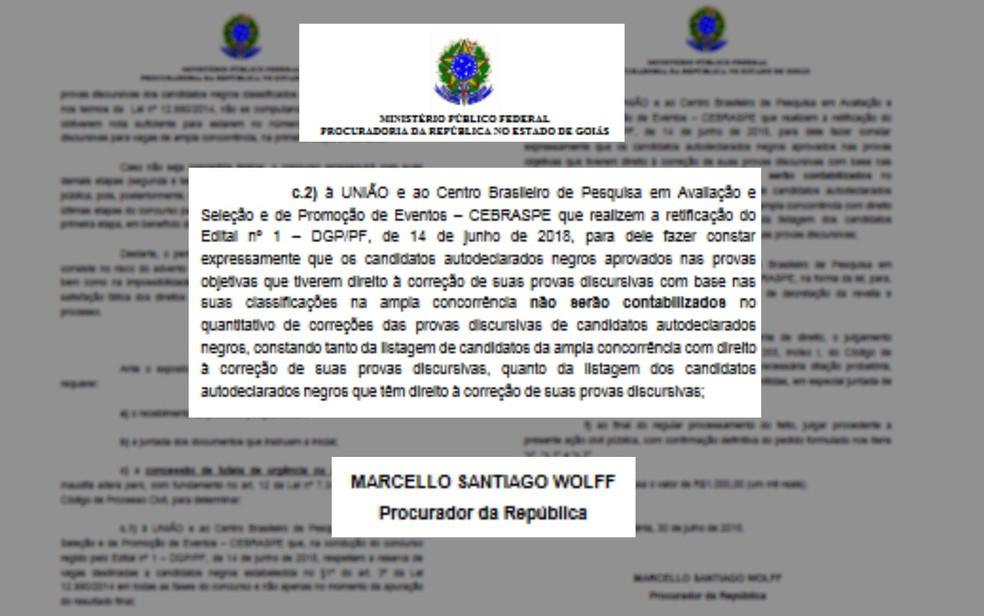 Ação do MPF-GO pede alteração em edital do concurso da Polícia Federal (Foto: Reprodução/MPF)