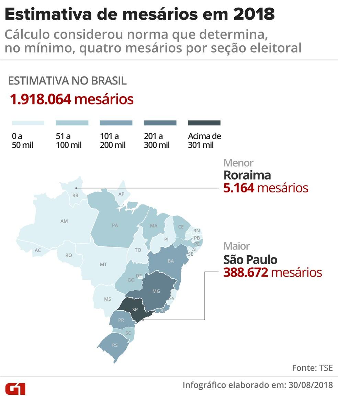 Estimativa de mesários em 2018: cálculo considerou norma que determina, no mínimo, quatro mesários por seção eleitoral (Foto: Igor Estrella / G1)