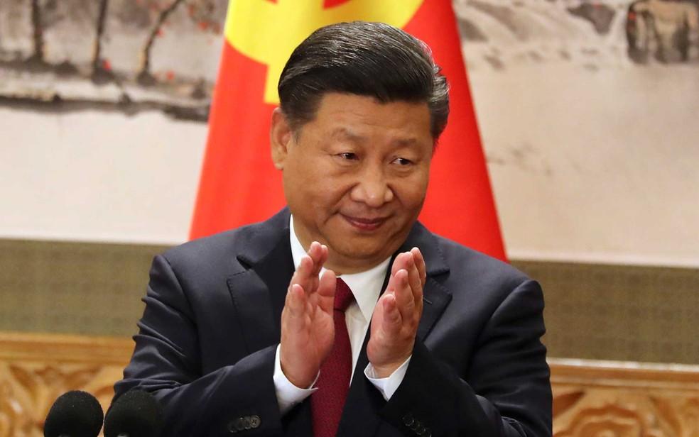 O presidente chinês, Xi Jinping, durante cerimônia no Grande Salão do Povo de Pequim  (Foto: Ng Han Guan / AP Photo)