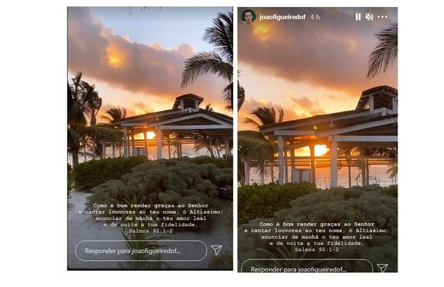 João Figueiredo mostrou o pôr do sol de um dos pontos turísticos visitados (Foto: Reprodução)