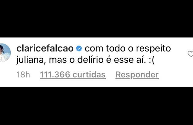 Já Clarice Falcão criticou a postura de Juliana Paes e disse que o delírio estava nas palavras dela   (Foto: Reprodução)