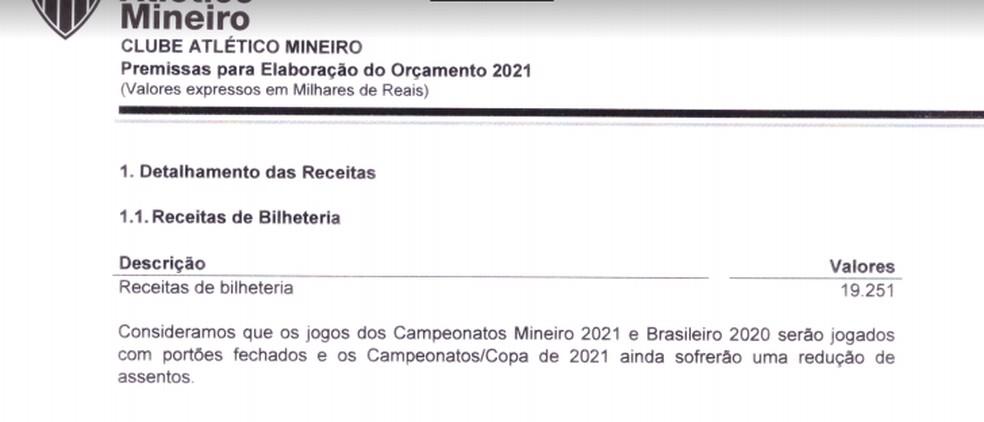 Orçamento de 2021 do Atlético — Foto: Reprodução