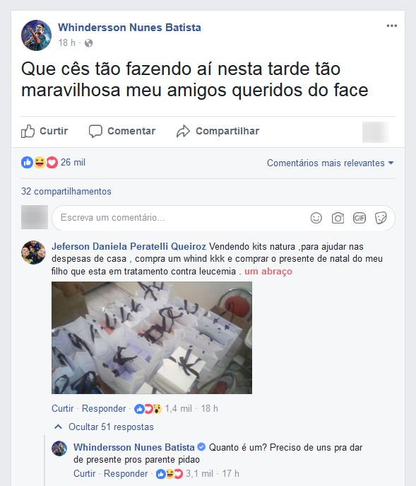 Whindersson Nunes compra kits de beleza para ajudar criança com leucemia no Paraná