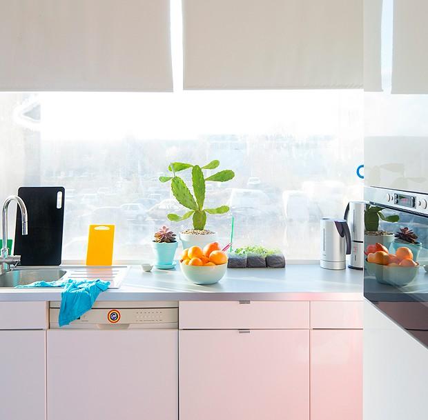 Tons leves marcam a cozinha da blogueira e, claro, as plantinhas não poderiam faltar (Foto: Judith de Graaff | JOELIX.com)