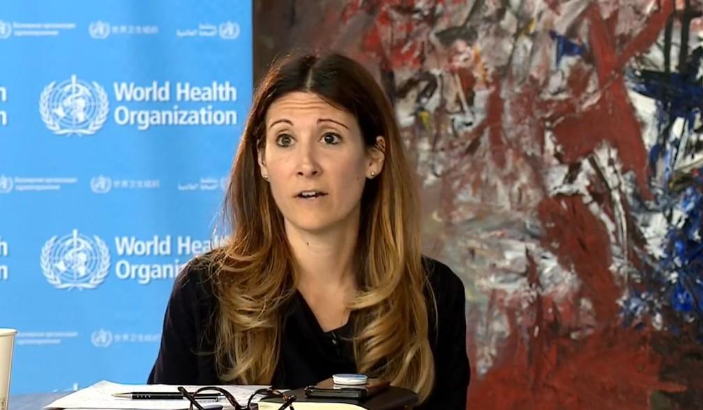 Maria van Kerkhove, chefe do programa de emergências da Organização Mundial da Saúde, em transmissão nesta terça-feira, 9 de junho — Foto: Reprodução/OMS