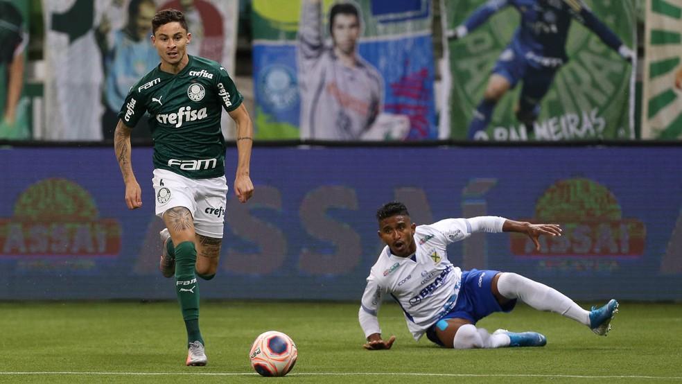 Diogo Barbosa, do Palmeiras, em ação na vitória sobre o Santo André — Foto: Cesar Greco/Ag. Palmeiras