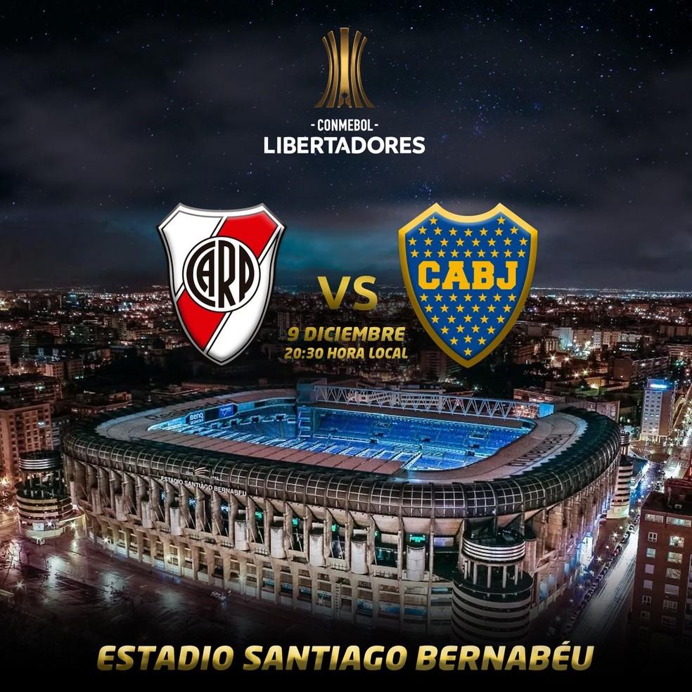 River Plate e Boca Juniors no Santiago Bernabéu — Foto: Reprodução / Conmebol