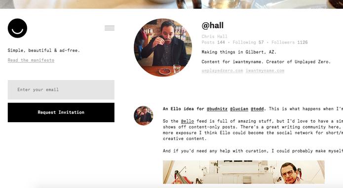 'Simple, beautiful & ad-free', é o que diz o Ello sobre seus perfis de rede social (Foto: Reprodução/Ello)