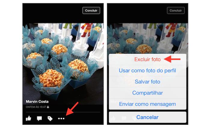 Iniciando a exclusão de uma foto de um perfil no Facebook pelo iPhone (Foto: Reprodução/Marvin Costa)