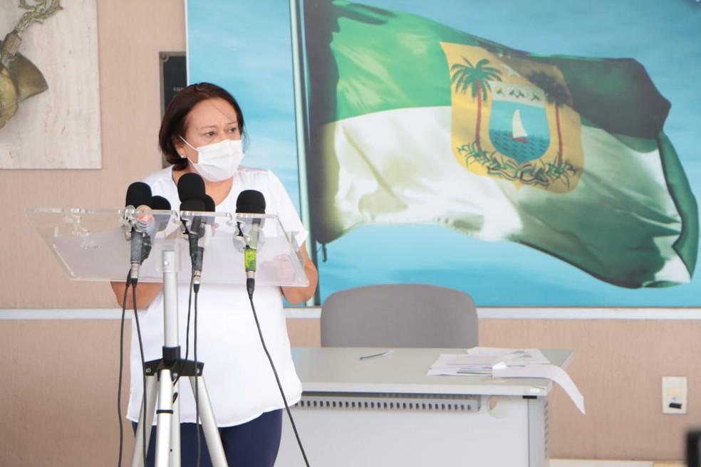 Governadora Fátima Bezerra anuncia prorrogação da suspensão das aulas presenciais no RN — Foto: Demis Roussos/Assecom Governo do RN