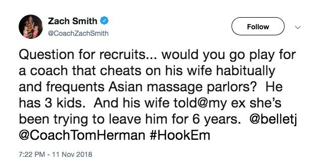 Uma das mensagens com as denúncias feitas pelo técnico de futebol americano contra seu ex-amigo (Foto: Twitter)