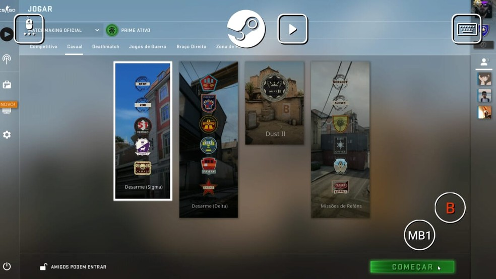 Escolha um modo de jogo no menu de CS:GO e clique em começar para a formação de times — Foto: Reprodução/Gabriela Rodrigues