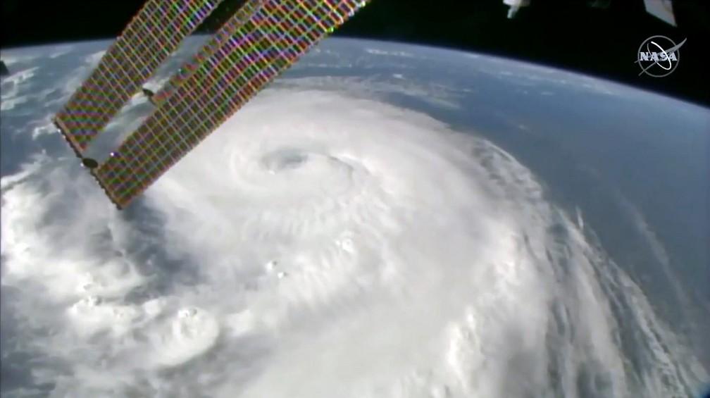 Reprodução de imagem da TV da Nasa mostra furação Dorian no dia 4 de setembro de 2019 — Foto: Nasa TV/AFP