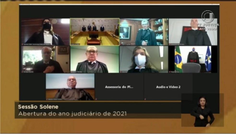Ministros participam virtualmente da sessão inaugural do ano judiciário do STF — Foto: Reprodução / TV Justiça