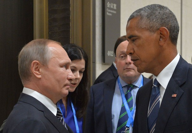 O presidente russo Vladimir Putin encontra o presidente americano Barack Obama em Nova York (Foto: Dmitry Azarov/Kommersant Photo via Getty Images)